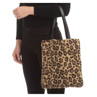 FASHIONABLE LEOPARD PRINT SHERPA FLEECE TEDDY TOTE BAG