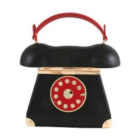 Inspired Black Whimsical Black Leatherette Telephone Novelty Shoulder Bag