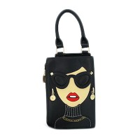 DESIGNED BLACK ICONIC SUNGLASSES TOP HANDLE CLUTCH BAG