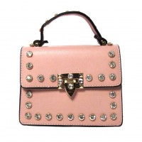 Stunning Pink Rhinestone Studs Top Handle Bag
