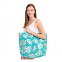 Oversize Turquoise Blue Silver Leaves Foil Tote Bag