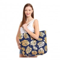 Oversize Navy Blue Gold Leaves Foil Tote Bag