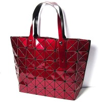 GlossyBurgundy Red Prism Tote Handbag