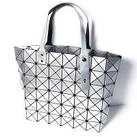 Glossy Silver Prism Tote Handbag