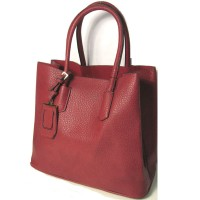 BURGUNDY RED TOP HANDLE HANDBAG