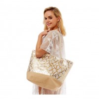 Oversize Gold Metallic Snakeprint Print Tote Bag