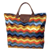 Bold Multi Color Zig Zag Stripes Foldable Tote Bag