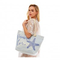 Oversize Glittery Blue Summer Time Starfish Print Tote Bag