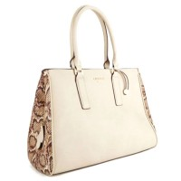 Chic Cream Python Print Oversized Tote Satchel Bag