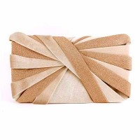 Gorgeous Shimmering Champagne Pleated Clutch Handbag
