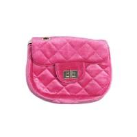 Romantic Fuchsia Pink Quilted Velvet Chain Cross Body Belt Bag