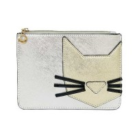 Delightful Gold Silver Designer Inspired Cat Motif Purse Bag