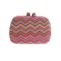 Multi Pink Zig Zag Frame Evening Case Bag