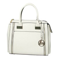 Stylish Double Zipper Satchel Carryall White Handbag