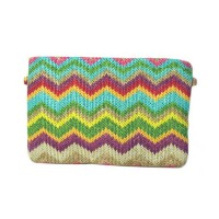Multicolor Zig Zag Woven Zip Pouch Chain Crossbody Clutch