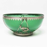 Translucent Emerald Green Jade With Silver Trim Bowl