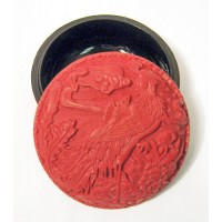 Bold Red Cinnabar Resin Round Circle Carved Phoenix Floral Collector's Box