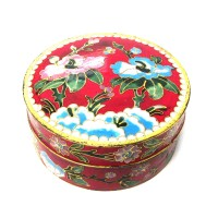 EXQUISITE ROUND LUCKY RED FLORAL CLOISONNE' BOX