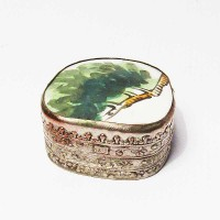 Tibetan Hand Painted Green Leaves Porcelain Silver Box