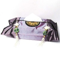 Majestic Purple Silk Brocade Tassel Tissue Box Cover