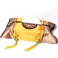 Imperial Gold Bronze Silk Brocade Tassel Tissue Box Cover