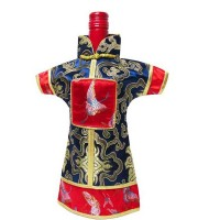 Unique Festive Navy Silk Brocade Imperial Robe Wine Bottle Cover