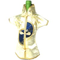 Unique Festive Gold Navy Brocade bamboo Imperial Robe Wine Bottle Cover
