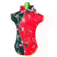 Exquisite Festive Red Green Silk Brocade Qipao Wine Bottle Cover