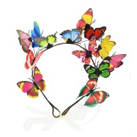 Fanciful Multi Color 3D Butterfly Ribbon Headband