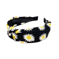 Playful Floral Print Black Knotted Button Headband