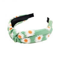 Playful Floral Print Green Knotted Button Headband