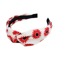 Playful Floral Print White Knotted Button Headband