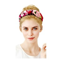 Playful Pink Floral Print Knotted Button Headband