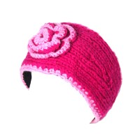 Nepal Hand Knit Fuchsia Pink Flower Headband for Winter