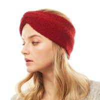 Burgundy Red Sherpa Fleece Earmuff Headband