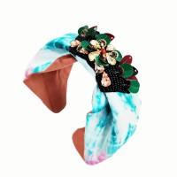 Lovely Blue Tie Dye Beaded Floral Turban Headband