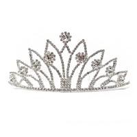 New Glitter Regal Clear Rhinestone Scroll Crown Tiara