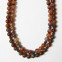 Genuine Carnelian Bead Double Strand Necklace