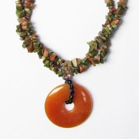 Genuine Moss Green Chips With Amber Jade Disk Necklace