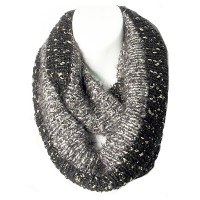 Stunning Black Knit Gold Trim Loop Infinity Scarf