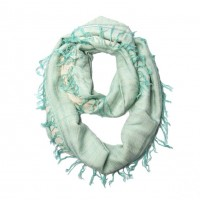 Mint Green Arabesque Pattern Print Tassel Infinity Scarf