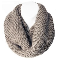 Charcoal Basket Weave Knit Loop Infinity Scarf