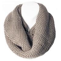 Charcoal Basket Weave Knit Loop Infinity Scarf