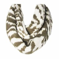 Two Tone Beige / Khaki Green Stripes Loop Infinity