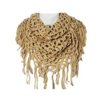 Beige Fishnet Infinity Circle Two Loop Collar Scarf