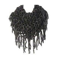 Black Fishnet Infinity Double Loop Collar Scarf