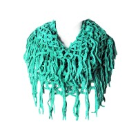 Green Fishnet Infinity Double Loop Collar Scarf