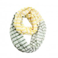 Sweetly Striped Infinity Cotton Circle Two Loop Scarf