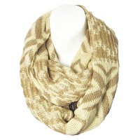 Cream Brown Diamond Gold Loop Infinity Scarf