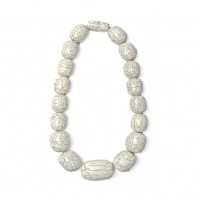 Handcrafted Off White Jumbo Oval Statement Necklace